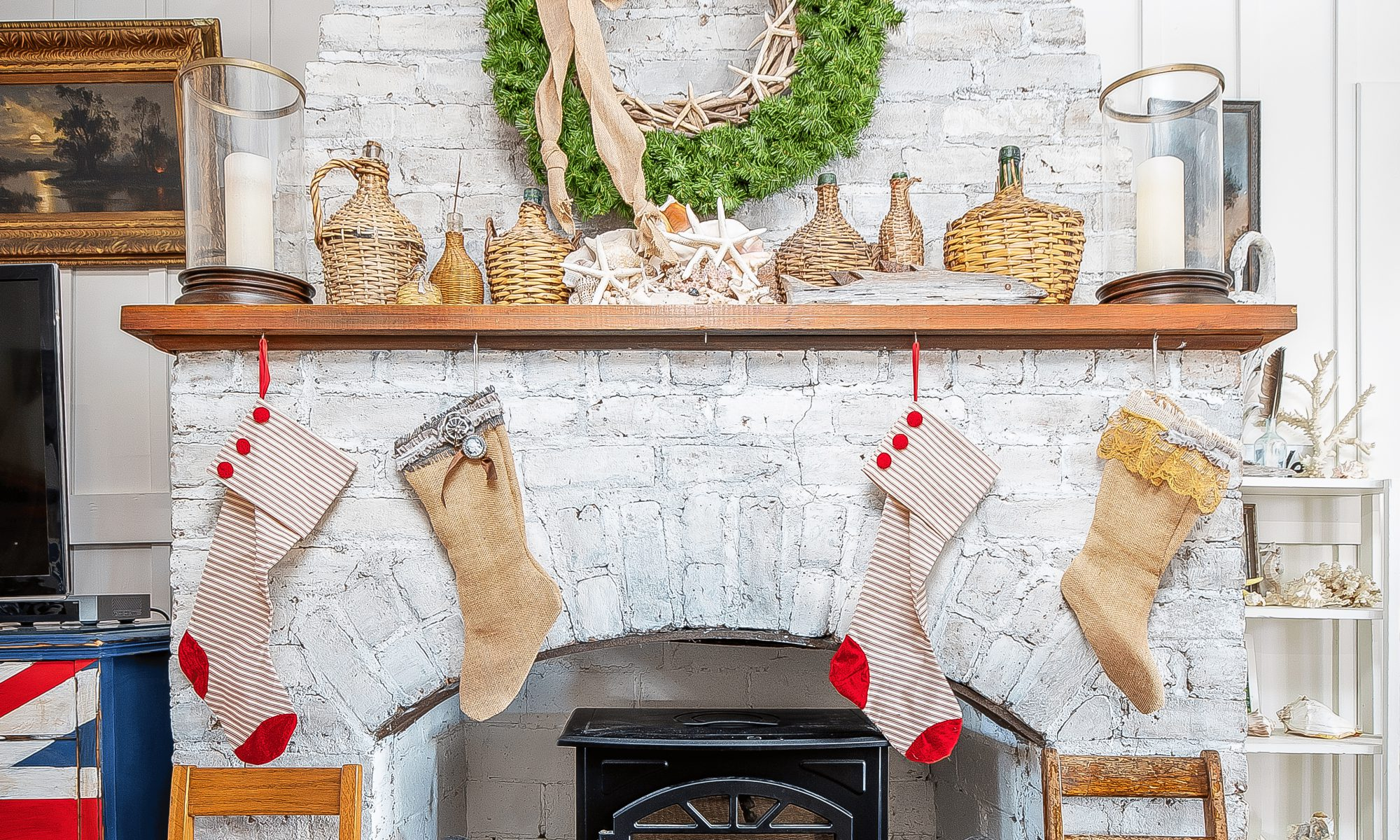 Holiday decorated mantle